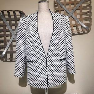 TAHARI Black/White polka dot blazer